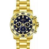 Invicta 22228 Men's Pro Diver Quartz Chronograph Blue Dial Yellow Gold Steel Bracelet Watch