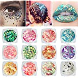 12 Colors Chunky Fine Body Glitter, Face Nail Glitter Sequins, Holographic Glitter for Eyes Hair Lipgloss, Self-adhesive Mixa