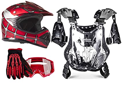 Youth Dirt Bike Boots >> Typhoon Youth Dirt Bike Motocross Atv Helmet Gloves Goggles Chest Protector Combo Red Spiderman Large