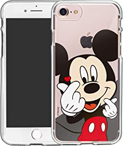 WiLLBee Compatible with iPhone 8 Plus/iPhone 7 Plus Case Clear TPU Cute Soft Jelly Cover - Heart Mickey