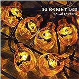 Halloween Pumpkin String Lights Eurus Home 20 ft 30 LED Halloween Lights | Solar Powered Pumpkin Lights with 8 Lighting Modes