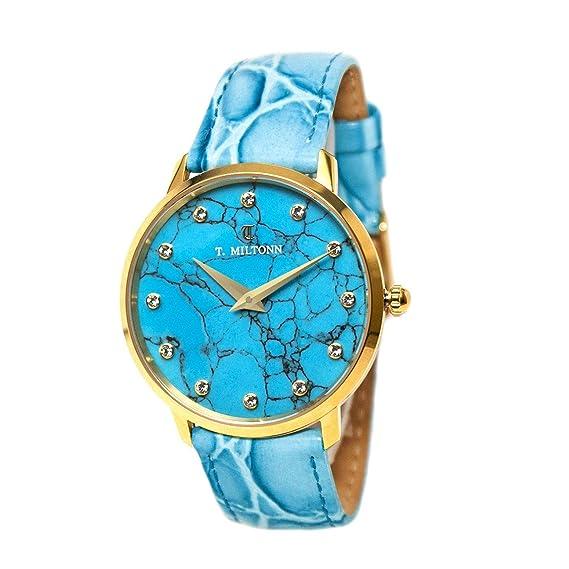 Reloj mujer extra-plate chapado oro amarillo esfera turquesa, Index diamantes, cristal,