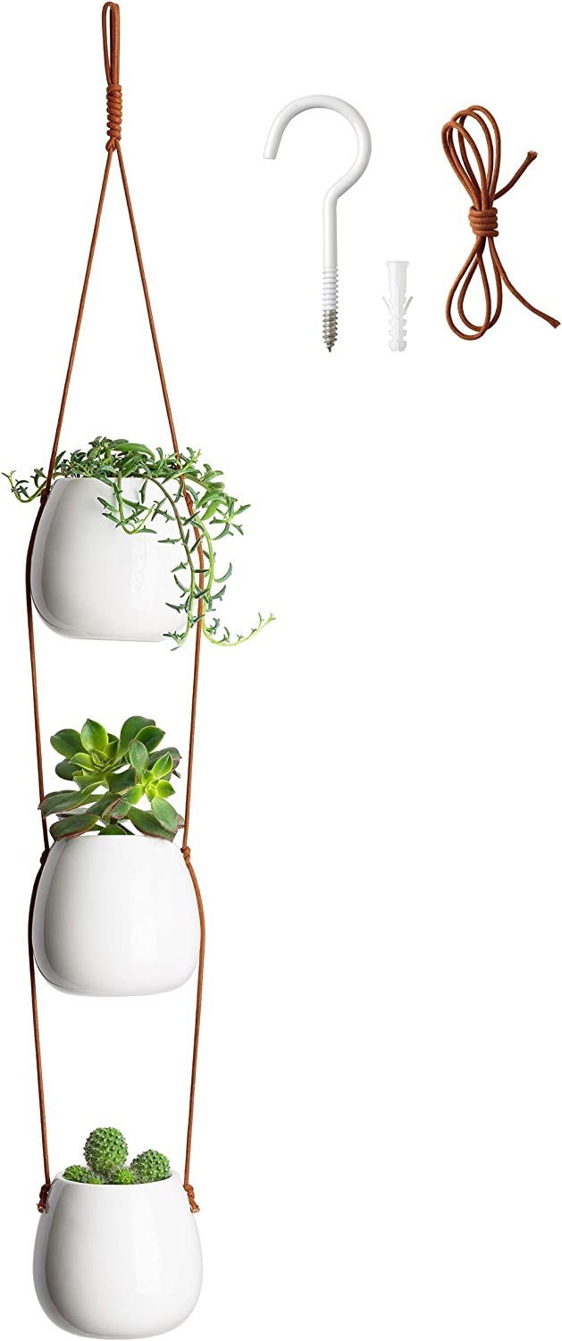 "BLUME BAE 3-Tier Hanging Planters for Indoor or Outdoor Plants - Deep 3.5"" Flower Pots Ceramic Succulent Decor Basket Wall Planter for Apartments, Dorms, Balcony, Ceiling, Cactus, Basil, Kitchen Herbs"