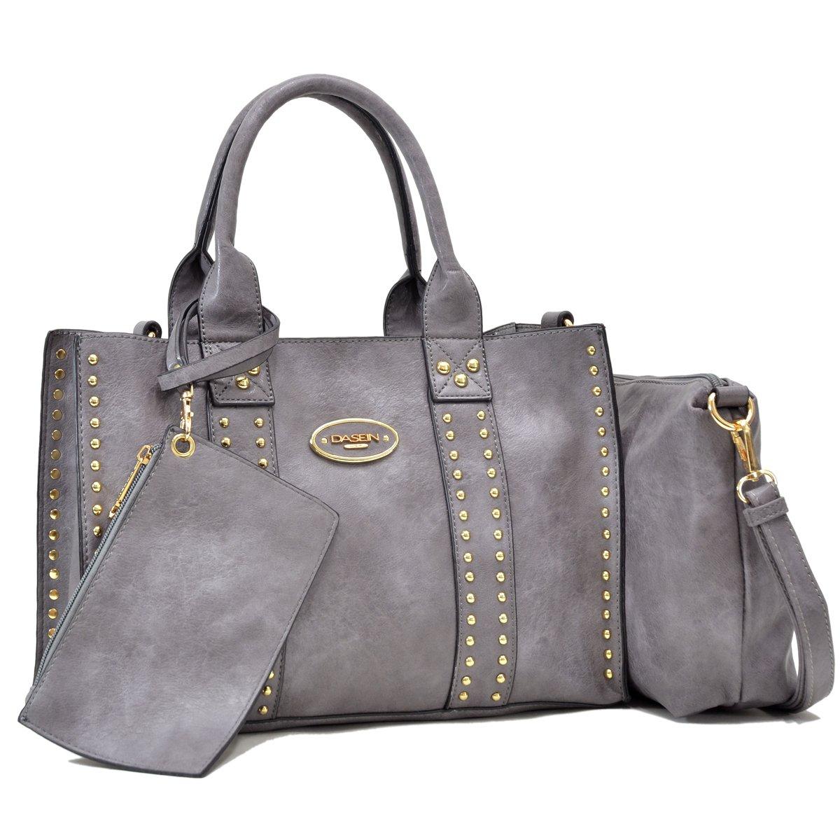 Women Handbag 3 Pieces Set Faux Leather Shoulder Bag Satchel Purse 3 in 1 Plaid Design 2 Pieces 2pcs (0620-3pcs-Grey)