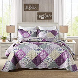 Umineux Quilt Microfiber Bedding Set Queen, 3-Piece Reversible Bedspread Coverlet Set with Shams Printed Patchwork Oversized Soft for All Season - Purple Floral