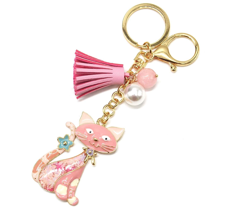 pt1684e - Llavero/joya de Bolsa - gato Metal pintado rosa ...
