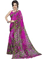 Classic Enterprise Women's Georgette Saree With Blouse Piece (Cls-201 _Pink)