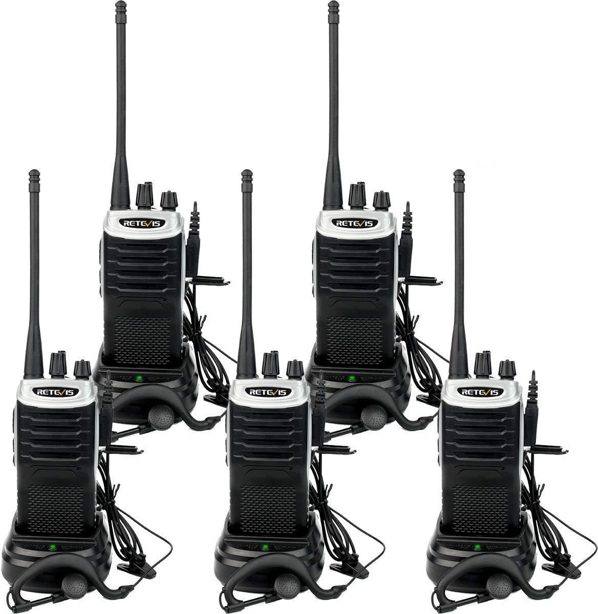 Retevis RT7 Walkie Talkie Profesional, Radio Bidireccional de Largo Alcance con Auriculares, Radioaficionado Ligero Recargable con FM VOX para Tienda, ...