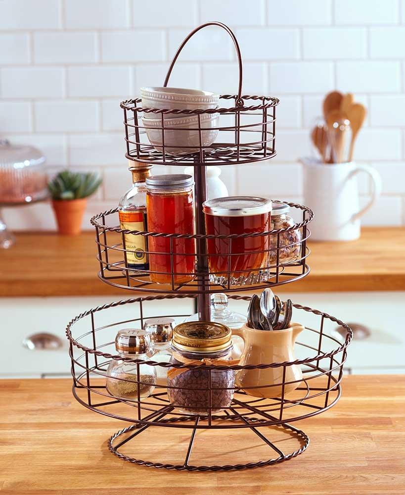 3-Tier Farmhouse Basket Bronze