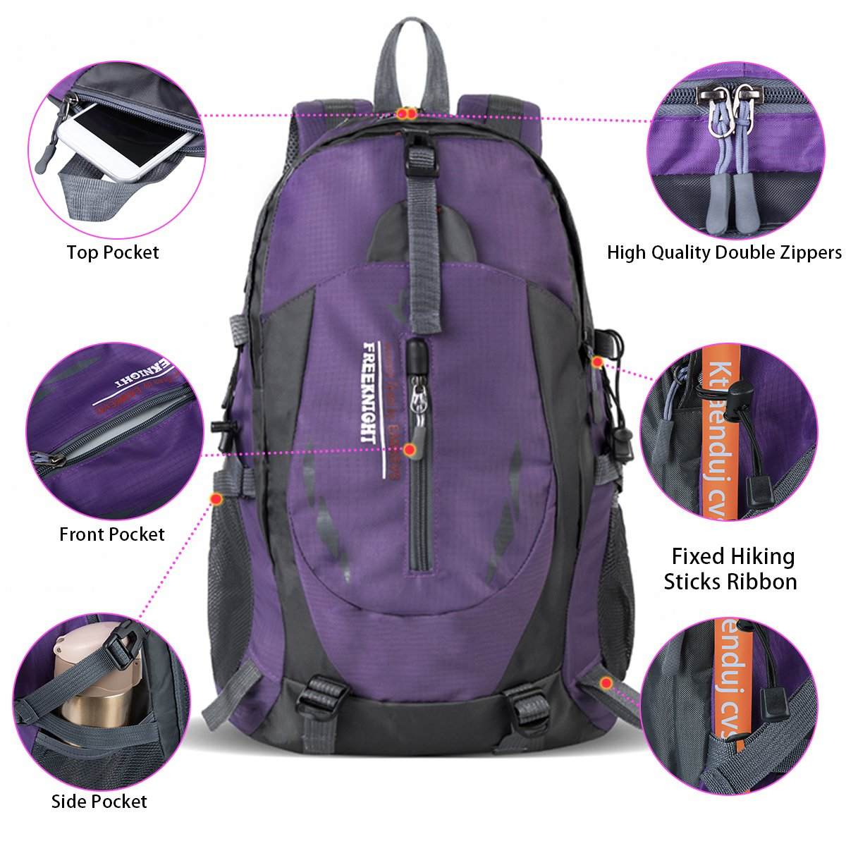 Hiking Backpack Water Resistant Sports Backpack Outdoor Bag for Travel Climbing Camping Mountaineering School Bag Hiking Daypack Size 11.8\'\'x 8.6\'\'x 20.4\'\' (Purple)
