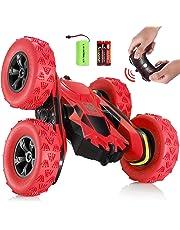 SGILE 4WD Coche Teledirigido, 15km/h 2.4 GHz RC Coche Acrobacia Rotación Volteo de 360 Grados, con Batería Recargable, niños