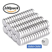 Round Refrigerator Magnets,100PCS 6X3MM Small Cylinder Magnets for Fridge, Kitchen, Home, Office, School, Science, Crafts