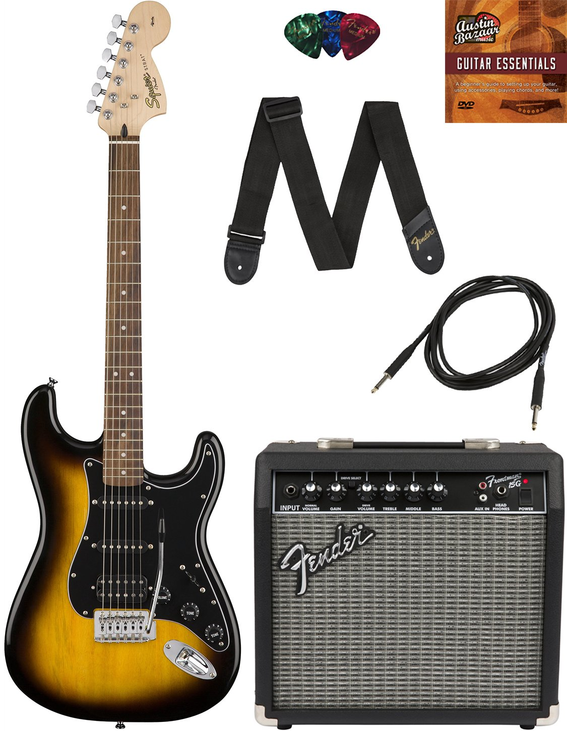 Amazon Squier By Fender Affinity Stratocaster Hss Pack With