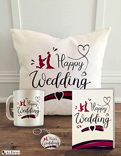 Buy ALDIVO Combo Marriage Gift Pack with Printed Key Ring/Coffee  Mug/Cushion Cover with Filler/Greeting Card for Brother/Sister/Friends,  12,inch, Set of 4