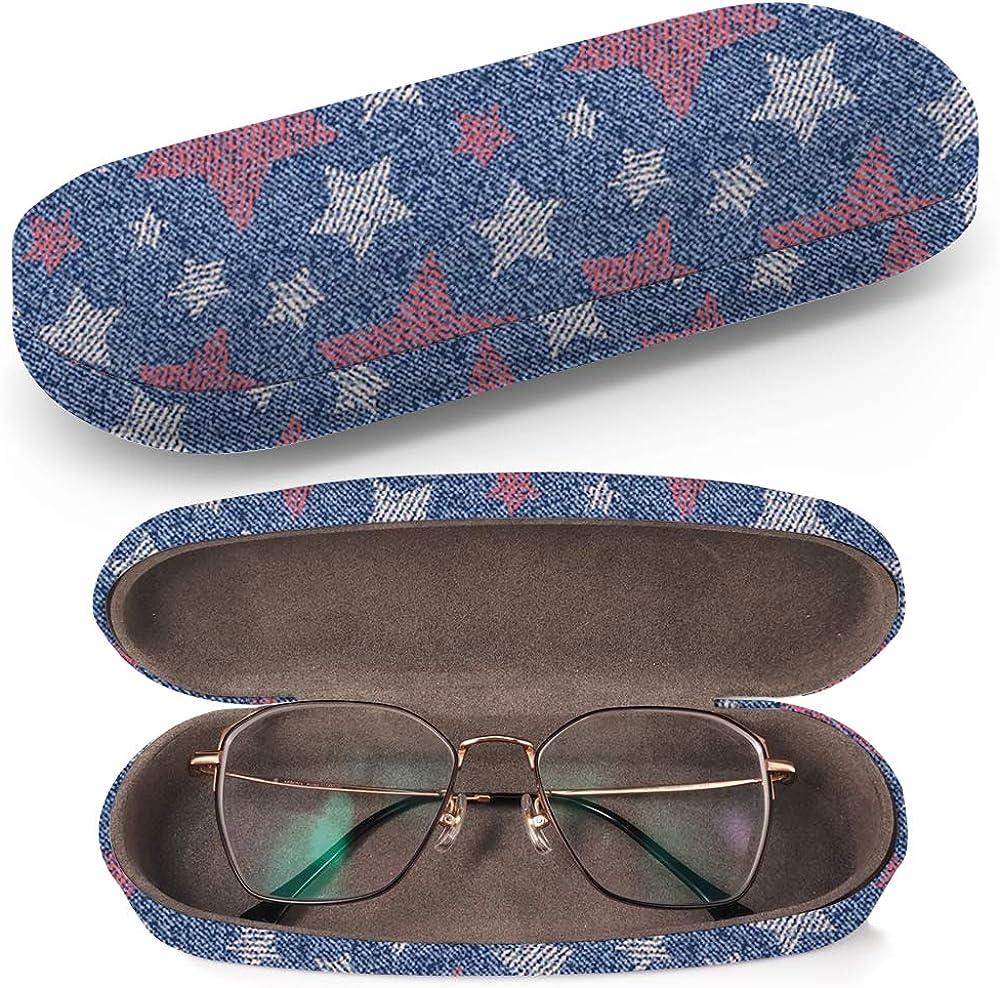 Hardcase Brillenetui Sonnenbrillenetui Brillenbox Kunststof Clamshell-Art-Brillen-Fall mit Brille-Reinigungstuch Jeans Pink Stars