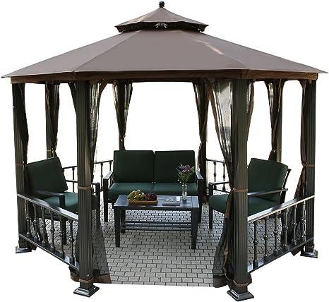 homdox Lujo aluminio Carpa jardín Carpa – Carpa para jardín Gazebo Jardín muebles Pergola con mosquitera
