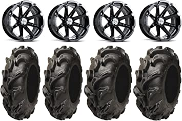 4x110 Bolt Pattern 10mmx1.25 Lug Kit 9 Items MSA Black Kore 14 ATV Wheels 28 BKT AT 171 Tires Bundle