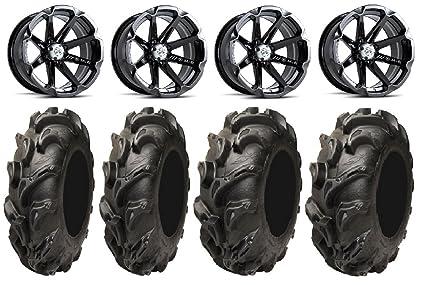 9 Items MSA Black Diesel 14 ATV Wheels 28 Swamp Lite Tires 4x156 Bolt Pattern 12mmx1.5 Lug Kit Bundle