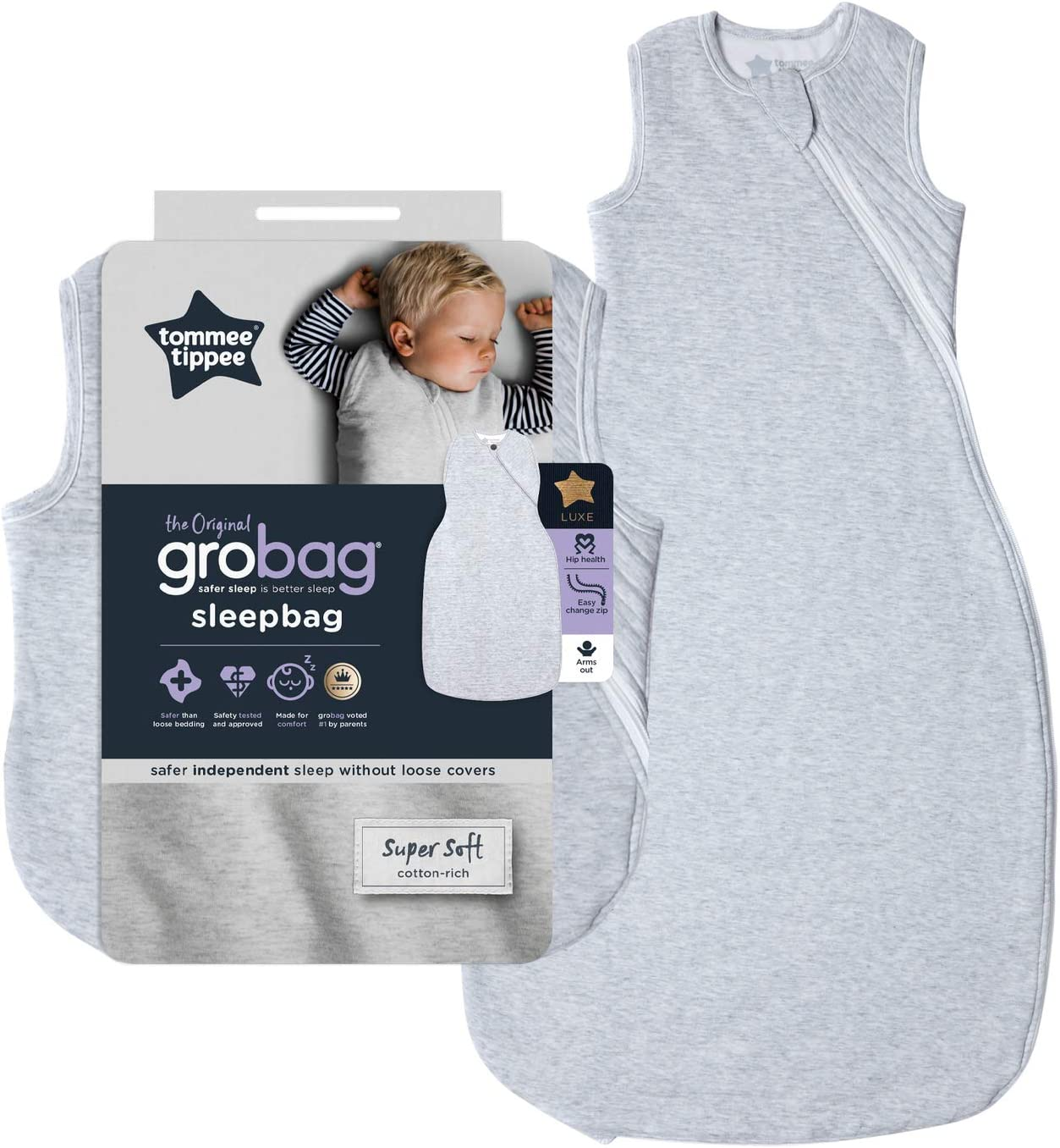 Tommee Tippee The Original Grobag 18-36 month 2.5 Tog Baby Sleep Bag Classic Marl