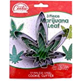 Marijuana Pot Leaf Brownie Cookie Cutter Mold Party Novelty Joint Bud Smoke Gift 3pc Set - Stainless Steel