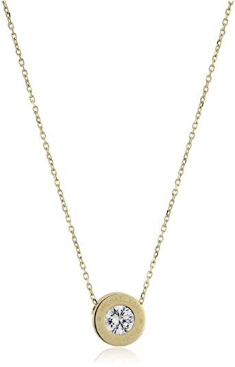 gold pendant sell mk logo discounted circle michael pave kors interlocking buy necklace asp