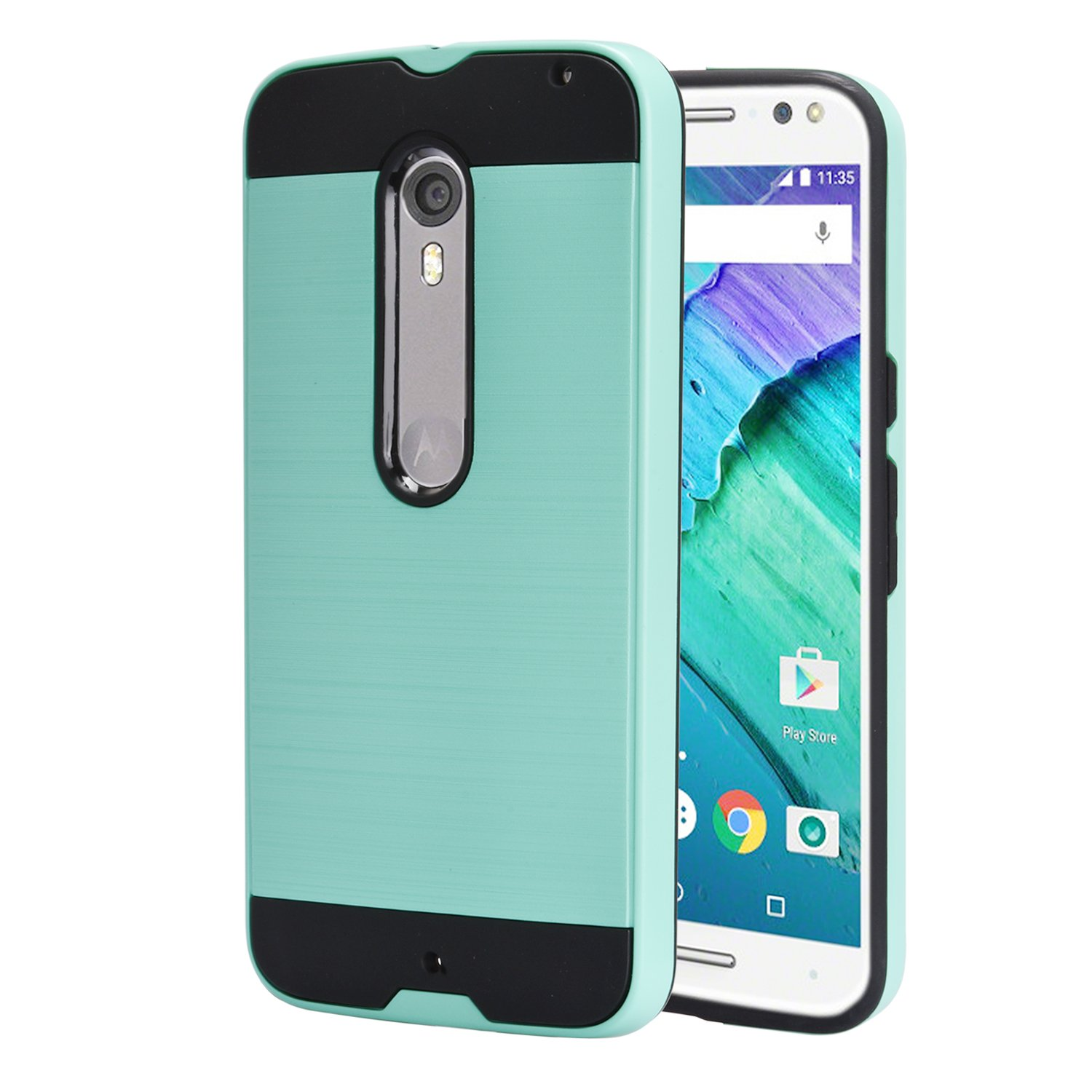 huge discount 2dbad 0de00 Moto X Pure Edition / Moto X Style / XT1570 Case With Phone Stand,Ymhxcy  [Metal Brushed Texture] Hybrid Dual Layer Full-Body Shockproof Protective  ...