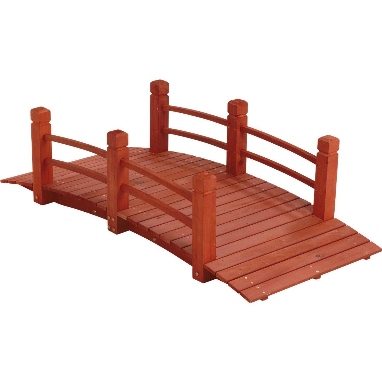 5 ft (59 in) Wooden Garden Bridge / Garden Stream Yard Walkway w/ Double Rails Product SKU: GD04211 by PierSurplus (Image #3)