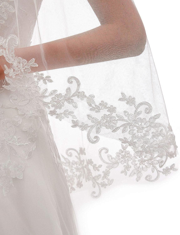 EllieHouse Womens Short 1 Tier Lace Wedding Bridal Veil With Metal Comb L68