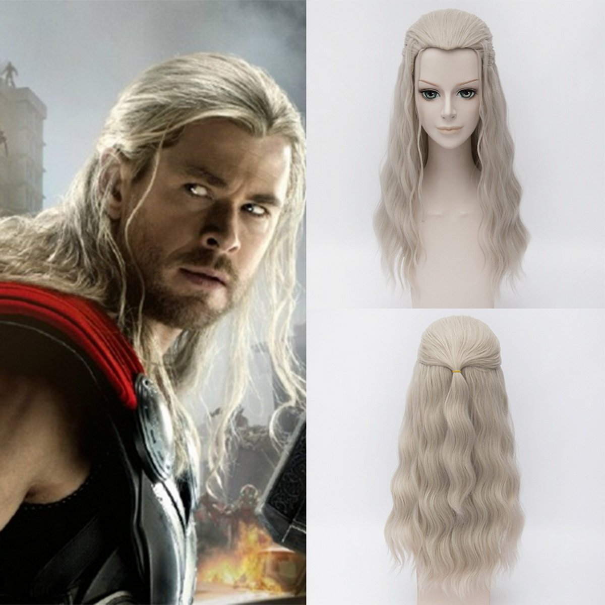 Men's Avengers Thor Costume Light Blonde Long Length Wig - DeluxeAdultCostumes.com