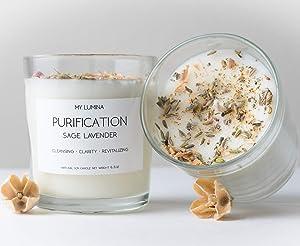 My Lumina Purification Sage Lavender Candle - Smudging Chakra Balancing Healing Candle Natural Soy Wax - White Sage Natural Scented Purifying Candle for Aromatherapy