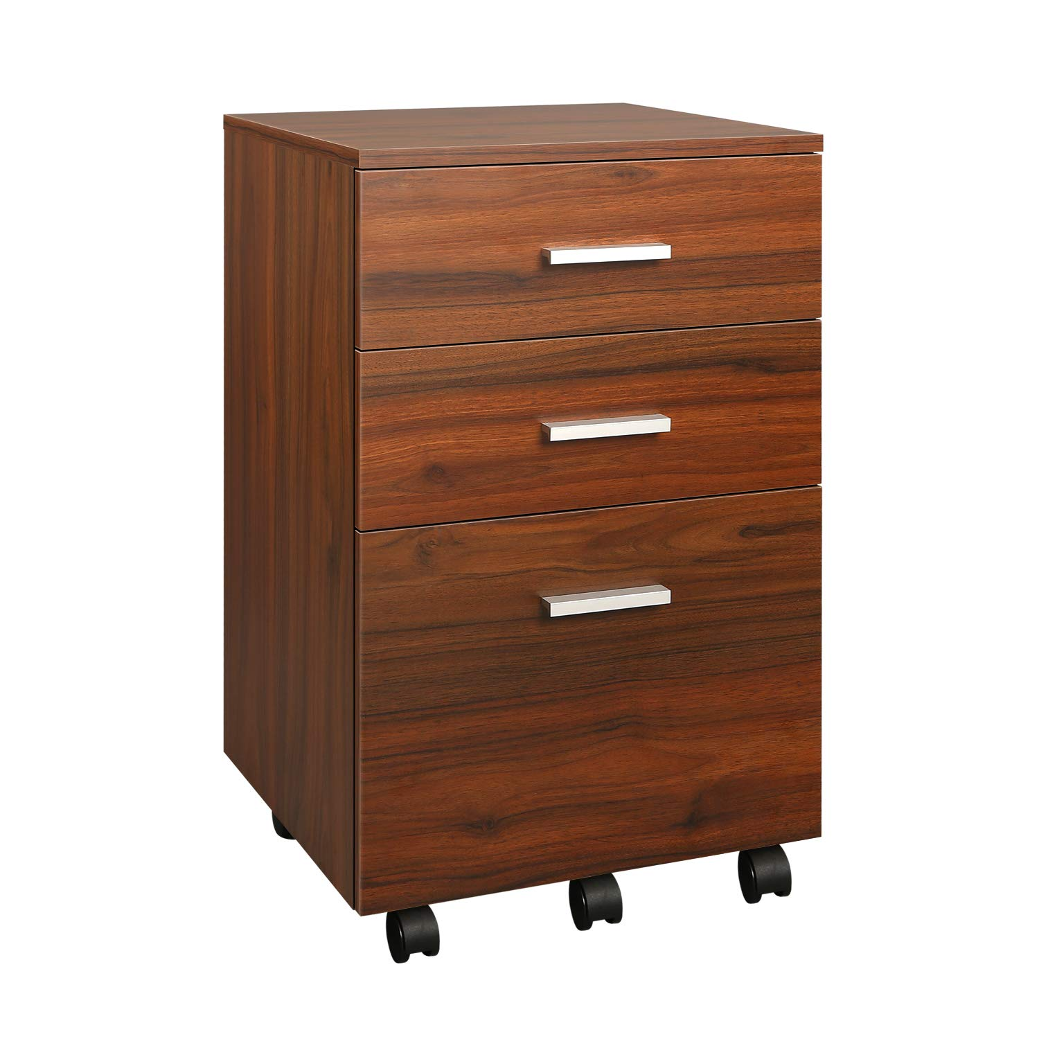 DEVAISE 3 Drawer Mobile File Cabinet, Rolling Wood Cabinet for Home Office, Walnut by DEVAISE