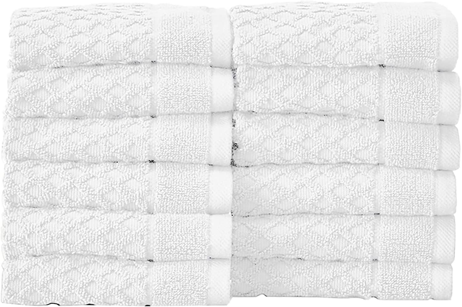 12-Pack Washcloth Set. 100% Cotton Absorbent Quick-Dry Textured Washcloth Towels. Wash Cloths for Bathrooms. Grayson Collection. (Wash 12pk, Optic White)