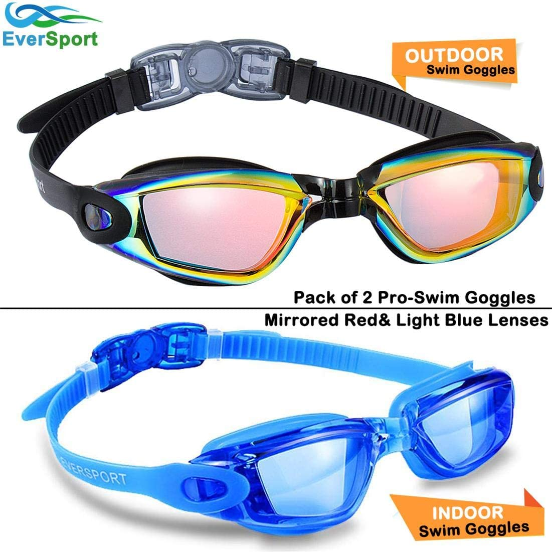 EverSport Swim Goggles Pack of 2 Swimming Goggles Shatter-Proof Swim Glasses No Leaking Anti Fog UV Protection for Adult Men Women Youth Kids Child Watertight Triathlon Goggle Mirrored//Clear Lens