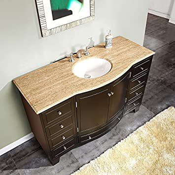 55 Single Sink Travertine Top Bathroom Vanity Cabinet Lavatory Furniture 703t Amazon Com