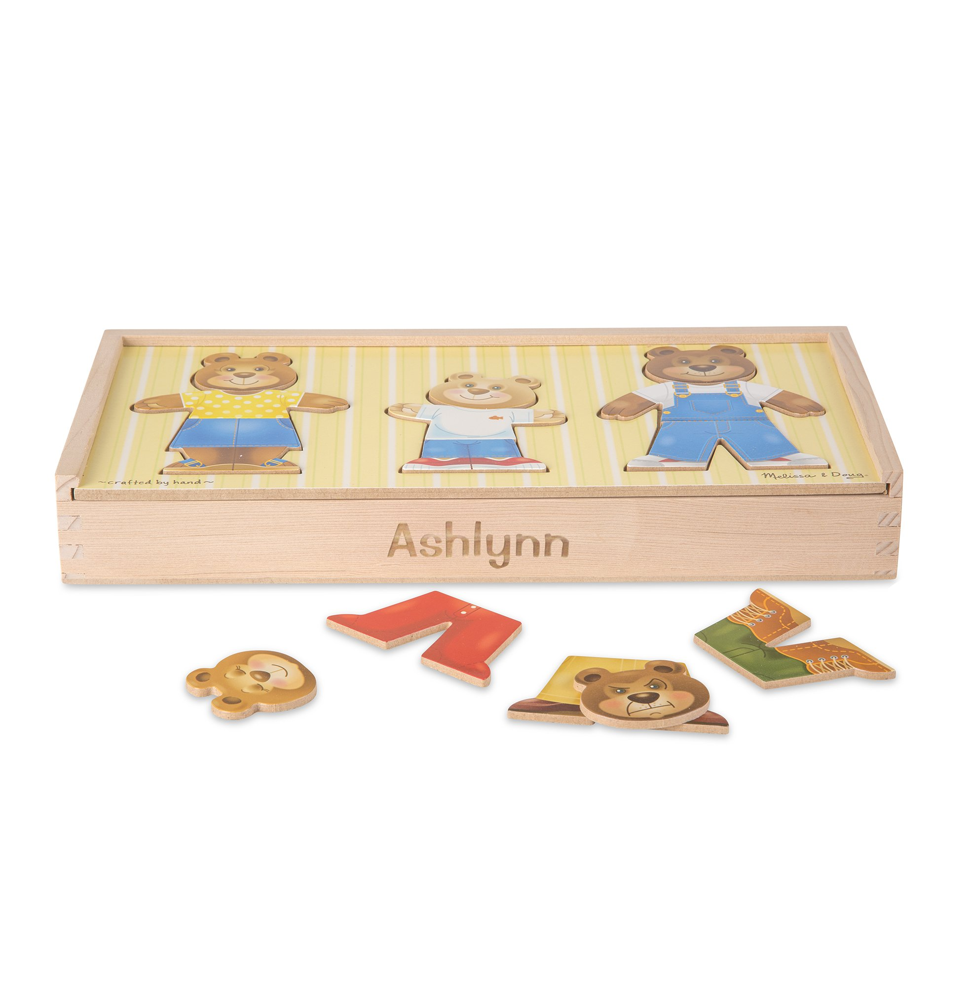 Melissa & Doug Personalized Mix 'n Match Wooden Bear Family Dress-up Puzzle with Storage Case (45 Piece)