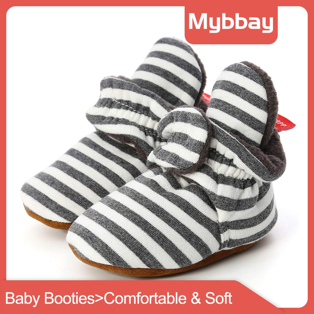 Mybbay Newborn Baby Boy Girl Soft Fleece Booties Stay On Slippers Socks Shoe Non Skid Gripper Infant Toddler First Walkers Winter Ankle Crib Shoes