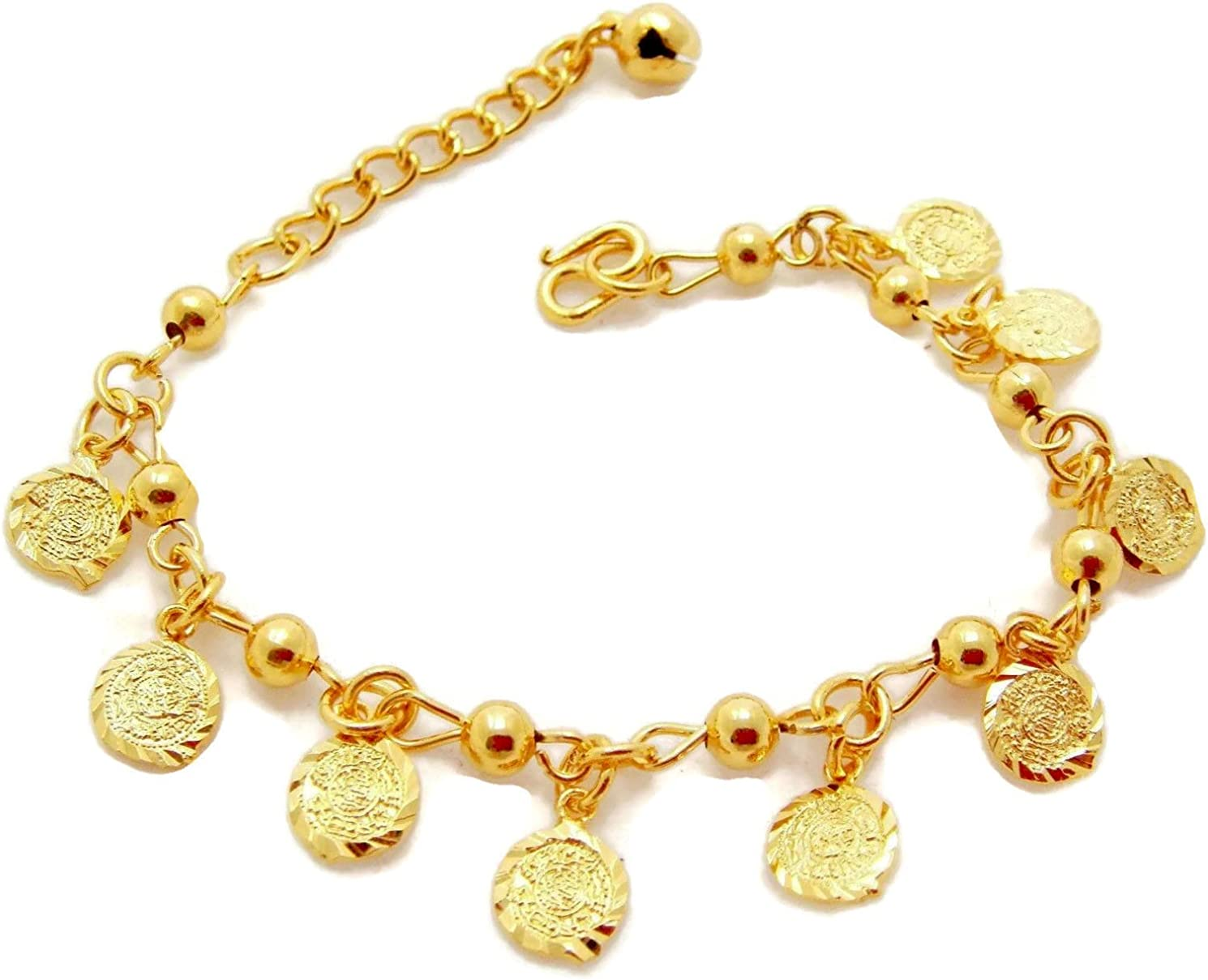 arrawana77 Elephant Bell 24k Thai Baht Gold Plated Foots Jewelry Bracelet Charm Anklet 9 Inch