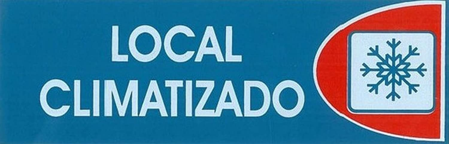 LOCAL CLIMATIZADO. CARTEL LETRERO ADHESIVO 18 X 6 CMS. PLACA ...