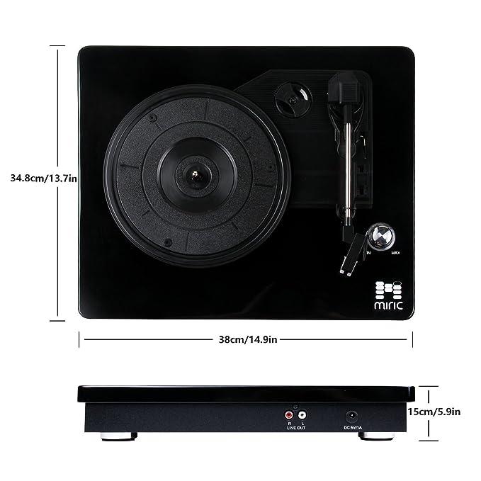 Miric Tocadiscos, Reproductor de vinilos, 3 Velocidades y 2 Altavoces Estéreos, Puerto USB para digitalización, Color Negro