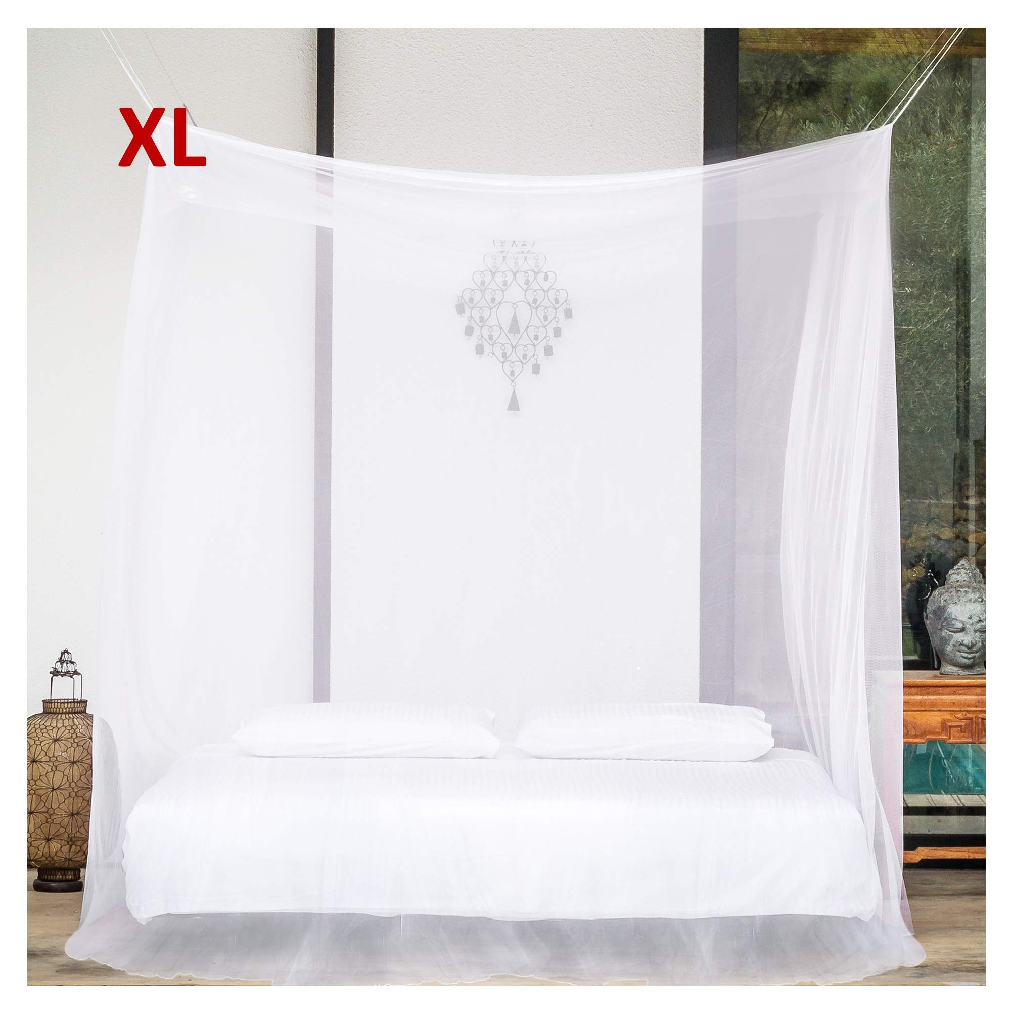 EVEN Naturals Mosquito NET for Bed Canopy, Tent for Double, Queen to California King Size, Extra Large Square Curtains, White Mosquito Netting with 2 Openings, Easy Installation & Carry Bag