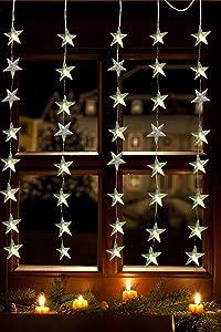 Luces navidad, cortina estrella, 40 LED cálido, exterior