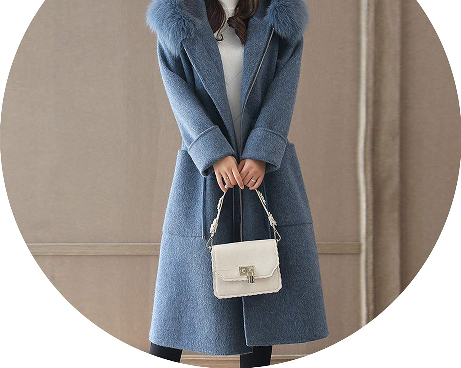 bluee Winter Women Woolen Coat Outerwear Hooded Trench Big Fur Collar Casual Jacket