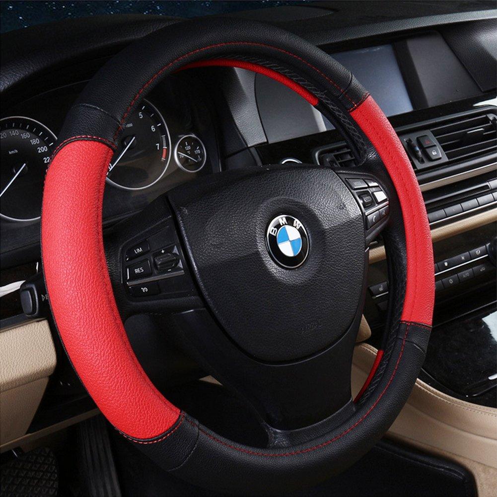 Advgears Car Steering Wheel Cover Microfiber Leather Auto Steering Wheel Cover Universal 15 inch Black Red