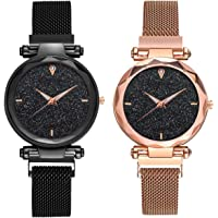 DAMIT Casual Designer Black Dial Combo of Magnet Watch - Pair of 2 - for Girls & Women