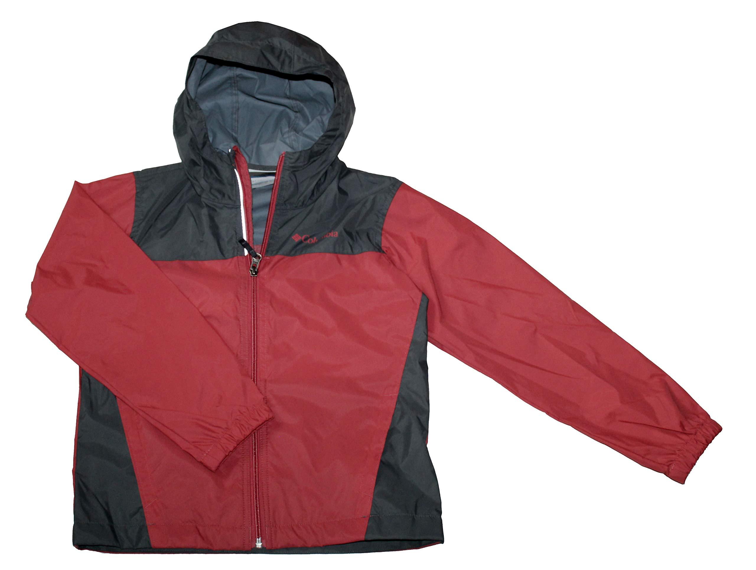 Columbia Youth Boys Raincreek Falls Rain Rain Jacket (Sunset Red/Grey, M 10-12)