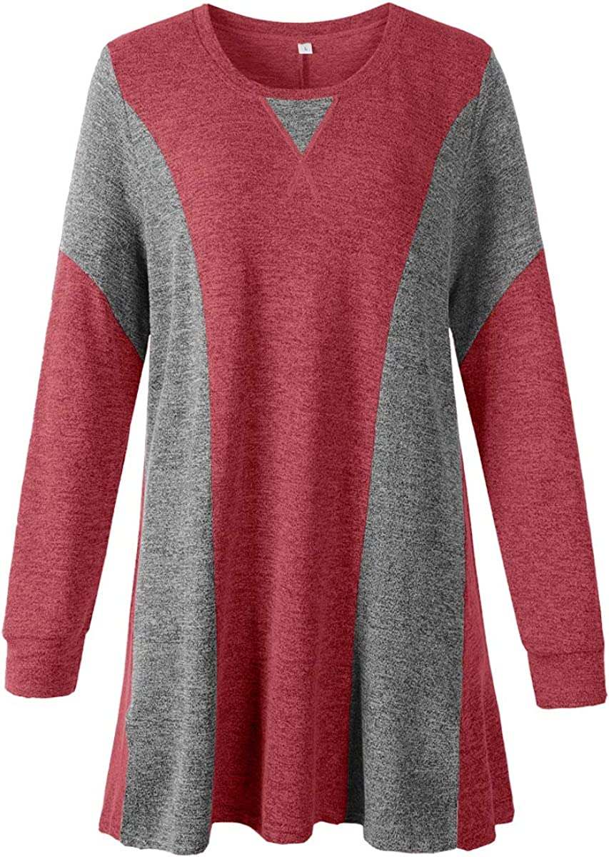 JollieLovin Women's Long Sleeve Round Neck Knitted Tunic Tops Plus Size Color Block Patchwork Fshion Tee Shirts Blouses