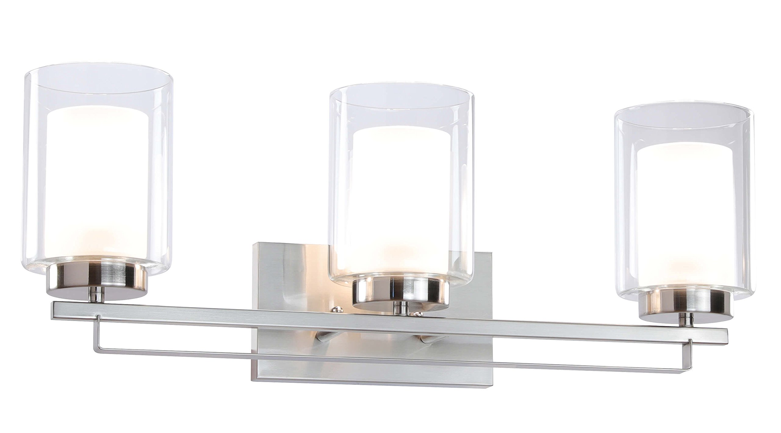 Wall Light 3 Light Bathroom Vanity Lighting with Dual Glass Shade in Brushed Nickel Indoor Modern Wall Mount Light for Bathroom & Kitchen XiNBEi-Lighting XB-W1195-3-BN