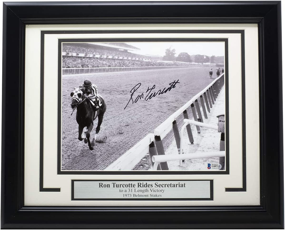 Ron Turcotte Autographed Signed Framed 1973 Belmont Stakes 8x10 Horse Racing Photo BAS