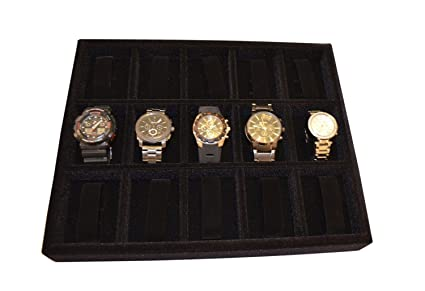 Amazoncom Watch Organizer Jewelry Organizer Wood and Velvet Tray