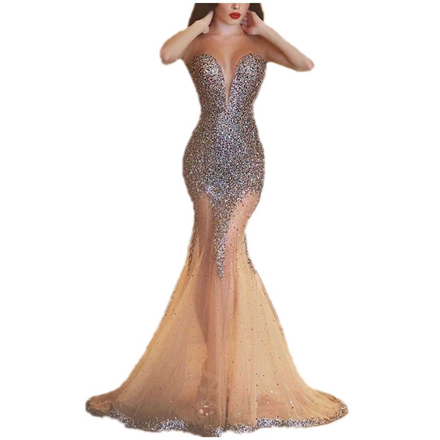 Uryouthstyle 2017 Beling Beling Mermaid See Through Prom Evening Dresses US2 Silver